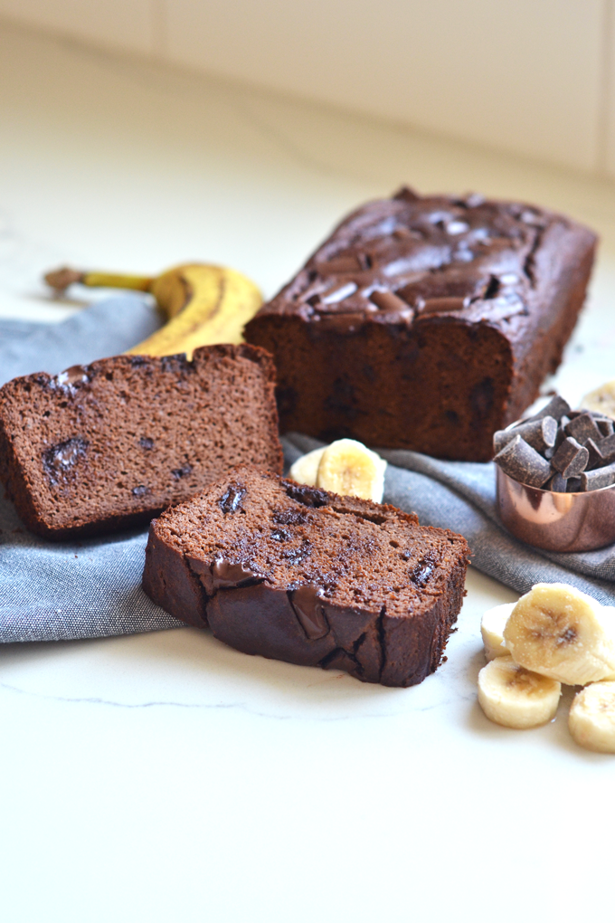 This Grain Free Double Chocolate Banana Bread is moist, sweet and perfect for a paleo treat!
