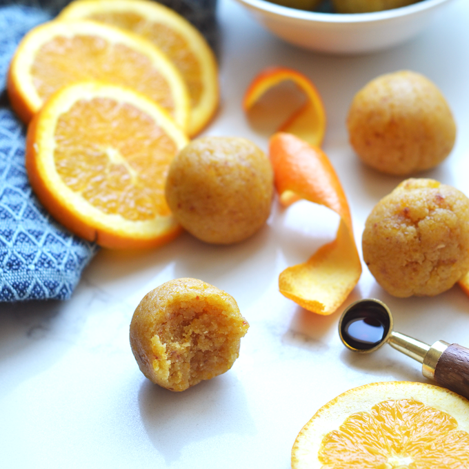 These Orange Vanilla Energy Balls are the perfect summer snack for busy days! Full of protein and carbs to fuel a workout!
