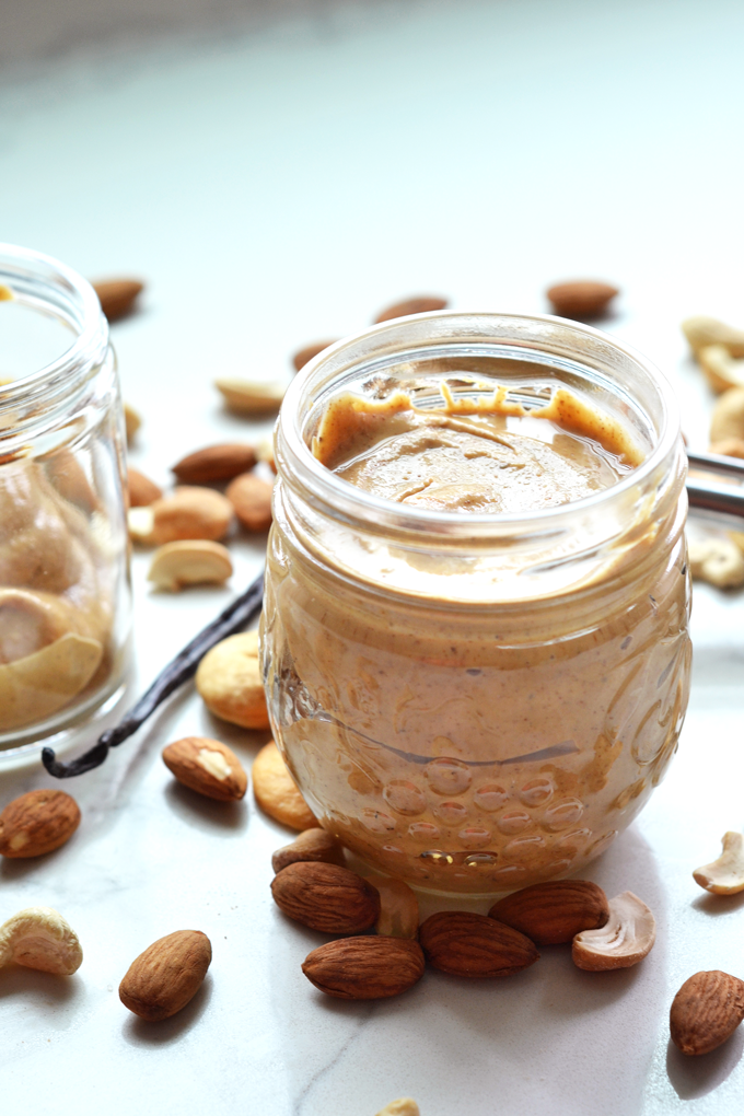 This Vanilla Bean Almond and Cashew Butter is a simple, whole30 and paleo nut butter that whips up in no time. Perfect on sweet potato toast!