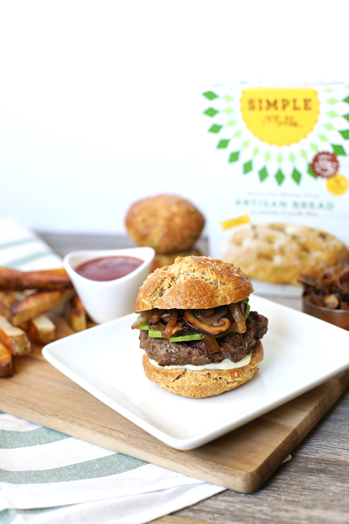 Caramelized Onion Mushroom Burger With Grain Free Bun Little Bits Of