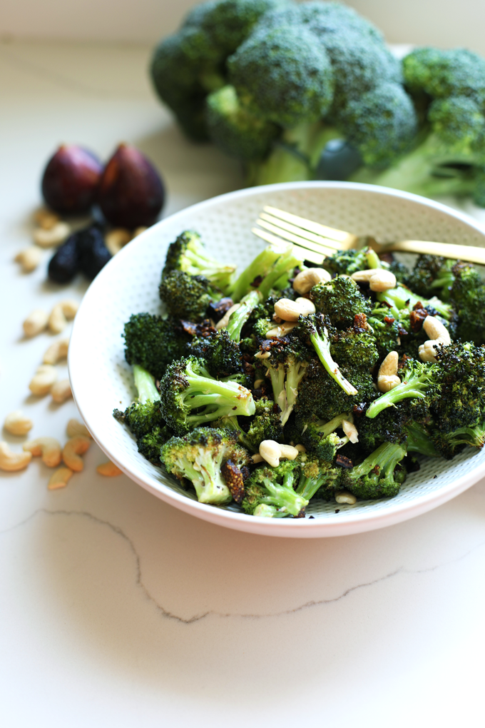 This Fig and Sage Roasted Broccoli Salad is a great paleo and whole30 side dish for summer or fall! Delicious for everyone!