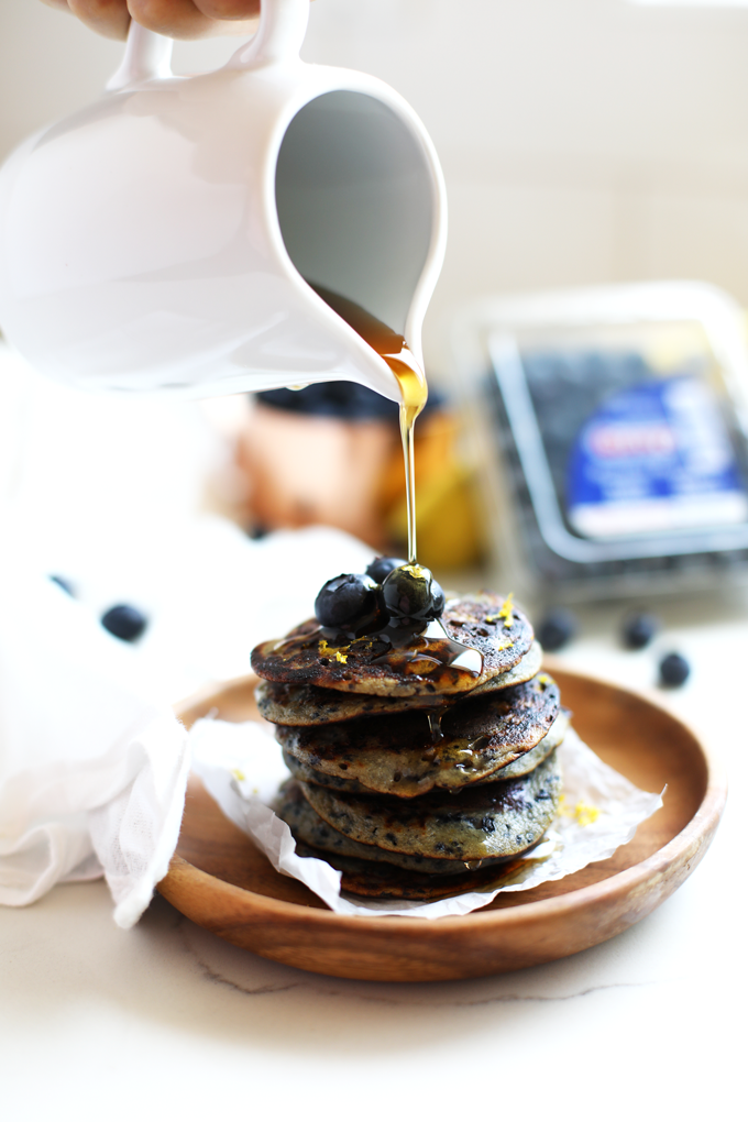These Paleo Blueberry Muffin Pancakes only have a few ingredients, are low in calories and perfect for any breakfast!