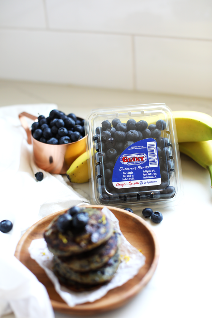 These Paleo Blueberry Muffin Pancakes only have a few ingredients and California Giant Berry Farms berries!