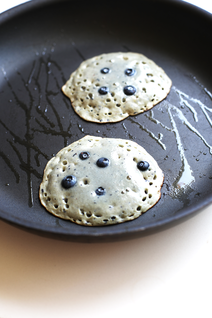 These Paleo Blueberry Muffin Pancakes only have a few ingredients and are a great breakfast option for anyone!