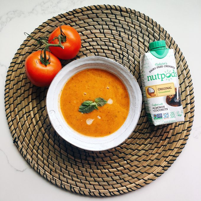 Whole30 Approved Lunch - Roasted Tomato Soup with nutpods creamer to make it smooth and creamy!