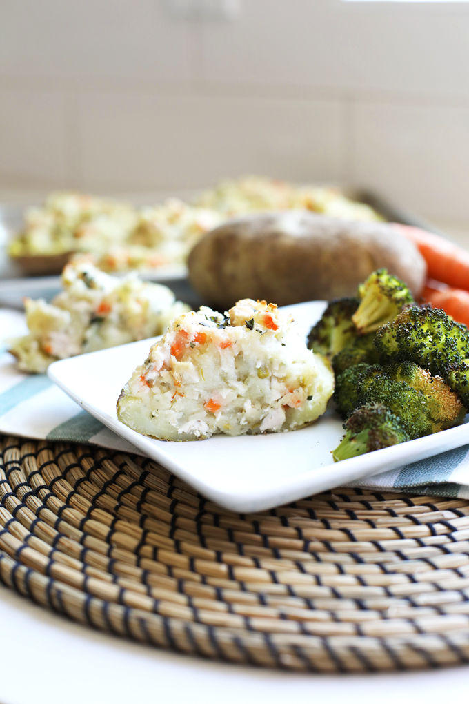 This Chicken Pot Pie Twice Baked Potato is healthy comfort food at its finest! Whole30 compliant and perfect for fall!