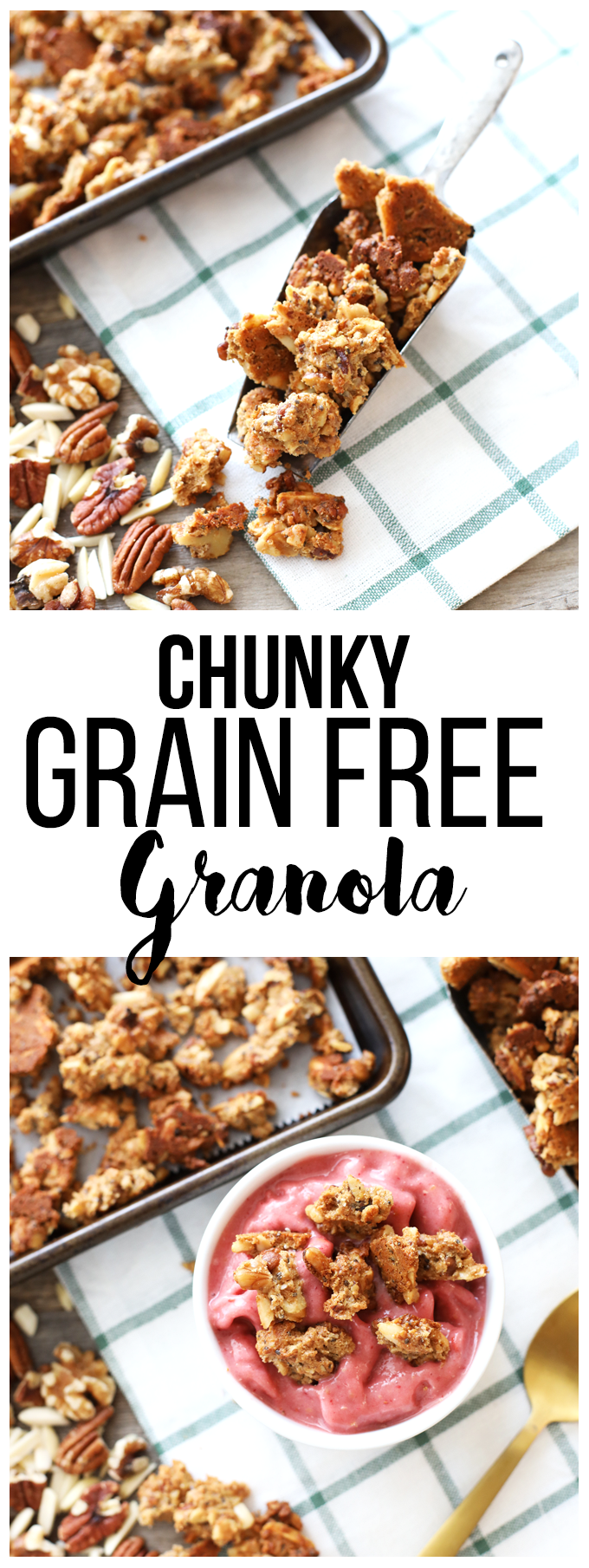 This Chunky Grain Free Granola is perfect to top a smoothie bowl or eat by the handful!