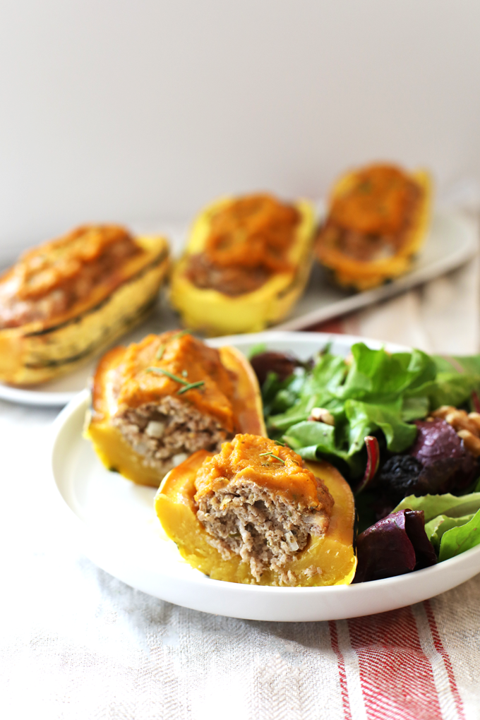 This Harvest Turkey Meatloaf Stuffed Delicata Squash is the perfect fall time meal! It is paleo and so easy to throw together!