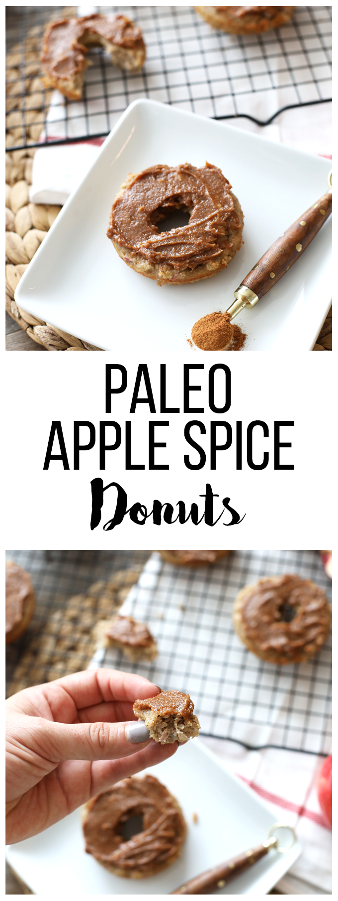 These Paleo Apple Spice Donuts are baked in a donut pan and so easy to make! They are paleo and have a clean and tasty frosting!