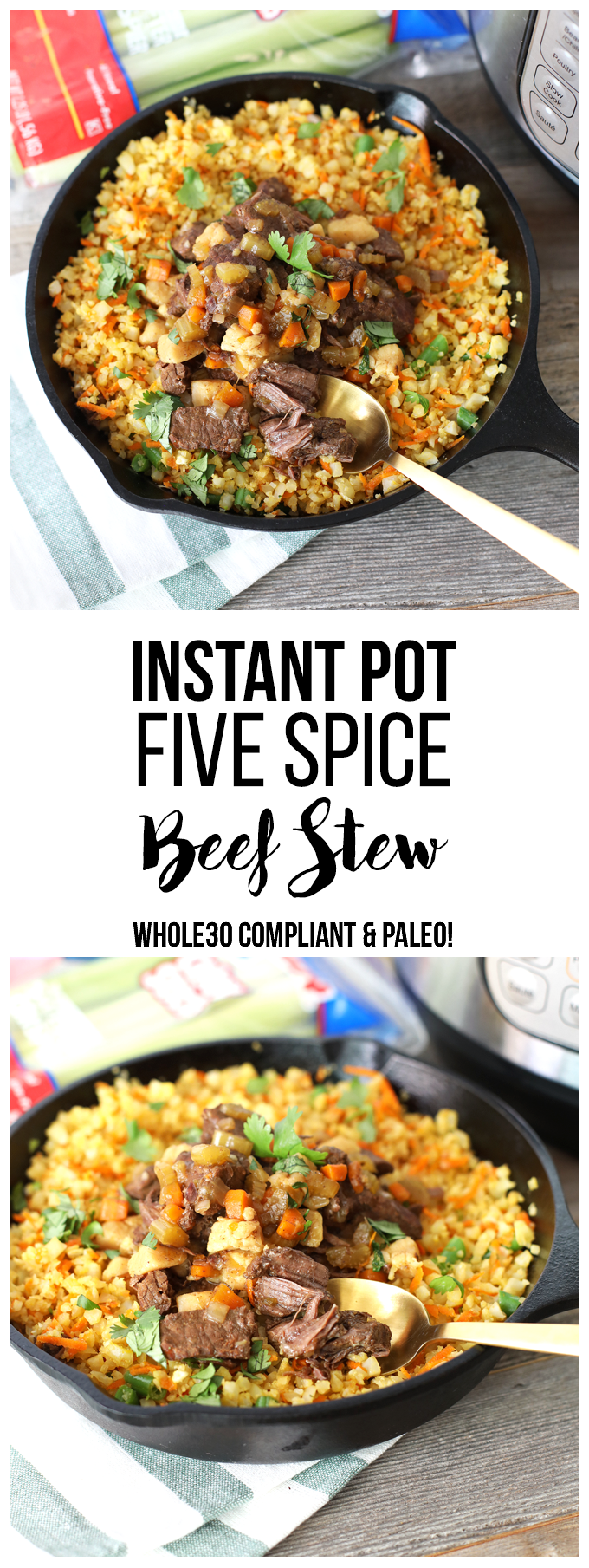 This Instant Pot Five Spice Beef Stew is the perfect way to mix up a comfort food classic! It is Whole30 and Paleo - perfect for the whole family!