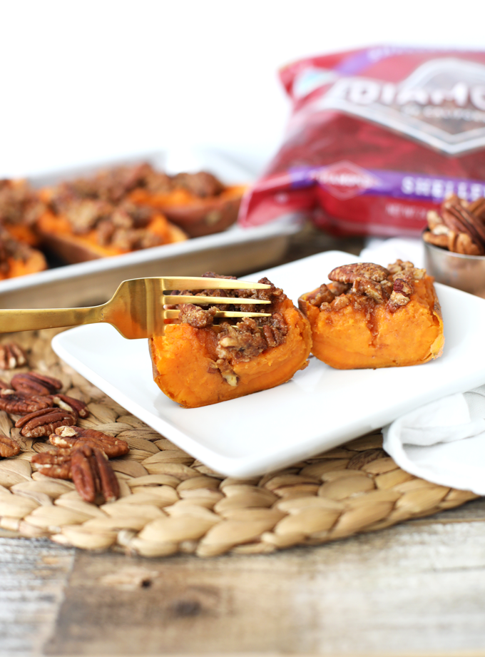 These Maple Pecan Twice Baked Sweet Potatoes are a great thanksgiving side dish that is paleo and packed with sweet and salty flavor!