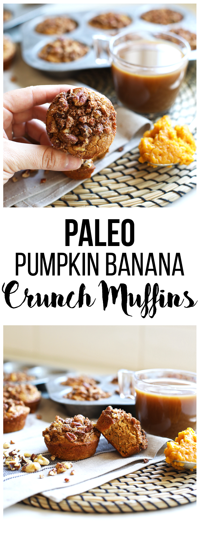 These Paleo Pumpkin Crunch Muffins are perfect for healthy holiday baking!