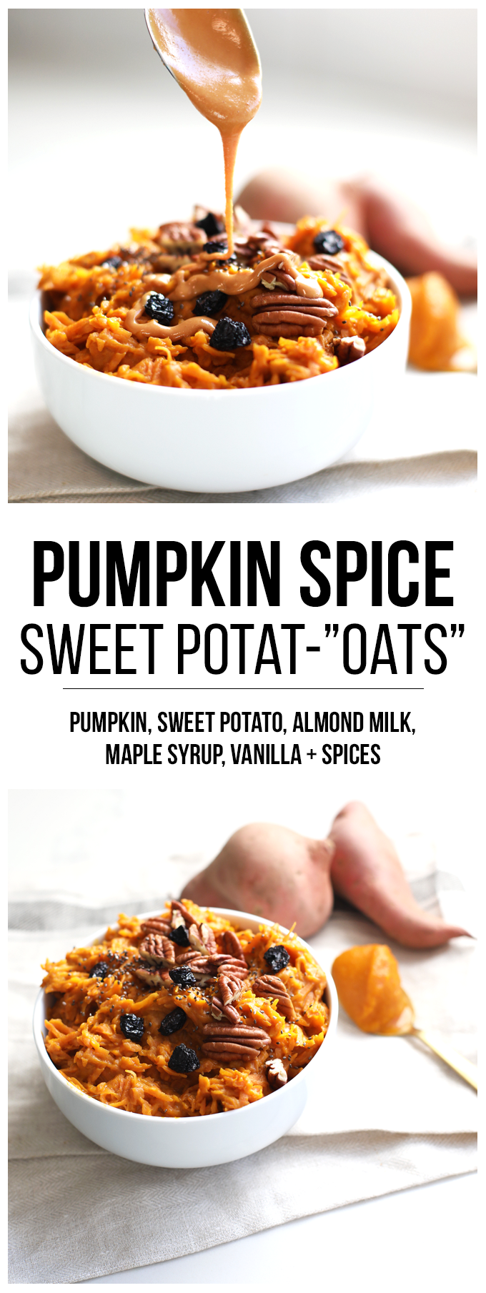 "Pumpkin Spice Sweet Potat-""Oats"" are a great way to have a warm and grain free breakfast! Top with nut butter and chia seeds for extra protein!"