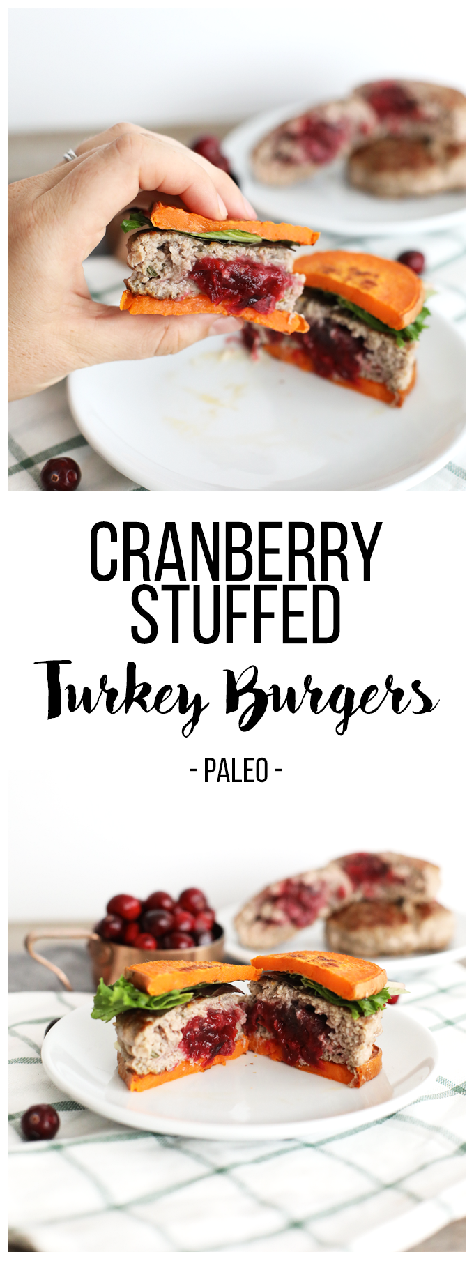 This Cranberry Stuffed Turkey Burger recipe is the perfect way to celebrate the holiday season! Quick, easy and paleo friendly!