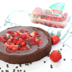This Strawberry Covered Flourless Chocolate Tart is a delicious and rich dessert that everyone will love! Totally paleo and you would never know it.