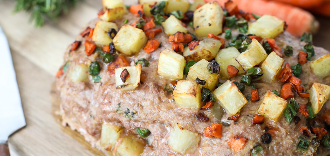 This Turkey Pot Pie Meatloaf is simple, has incredible flavor and is Whole30 compliant!