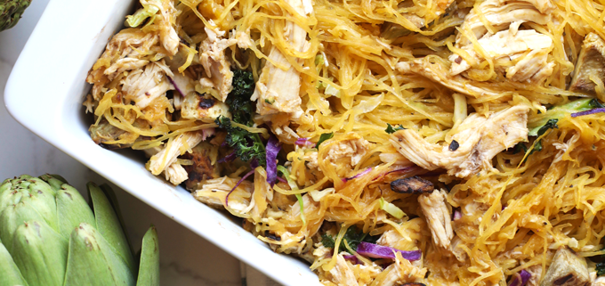This Balsamic Artichoke & Chicken Spaghetti Squash Bake recipe is so simple to throw together, whole30 compliant and delicious!