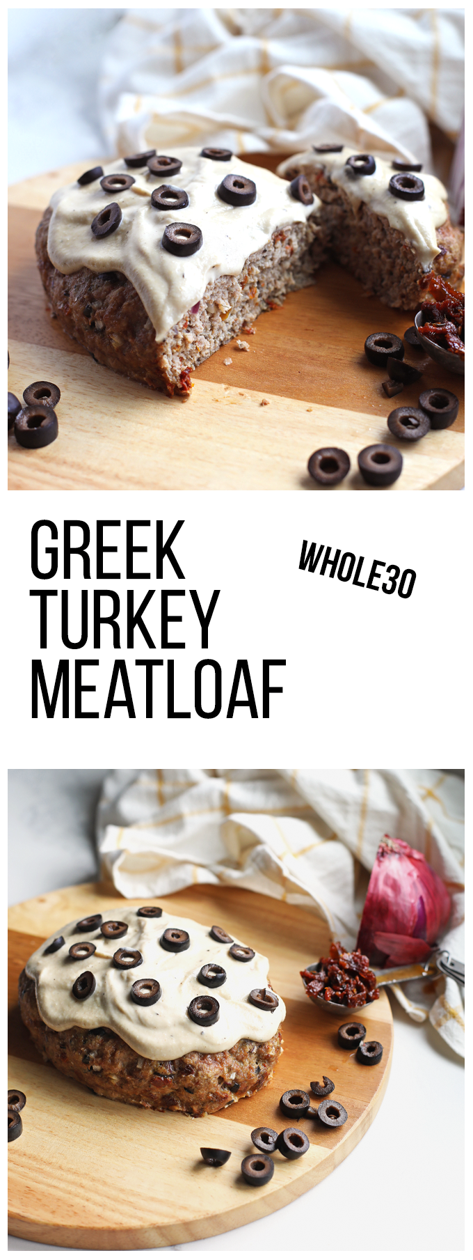 This Greek Turkey Meatloaf is whole30 compliant and super easy to whip together any night of the week!
