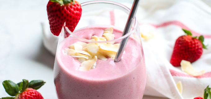 This Strawberry Coconut Strawberry Smoothie is a perfect way to start the day with healthy fat and tons of great berry benefits! Also has some cauliflower for added nutrients!