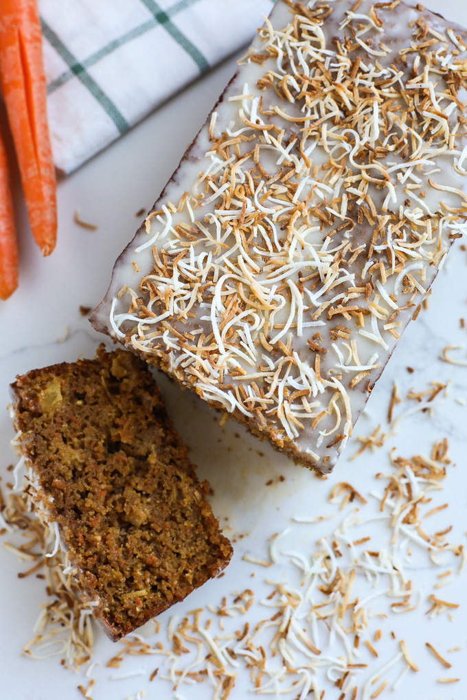 This Grain Free Toasted Coconut Carrot Cake is packed with veggies and super delicious for an easter dessert!