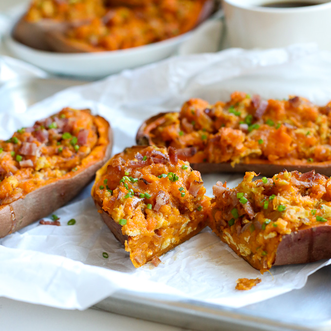 These Twice Baked Breakfast Sweet Potatoes recipe is perfect for a whole30 breakfast that everyone in the family will love!