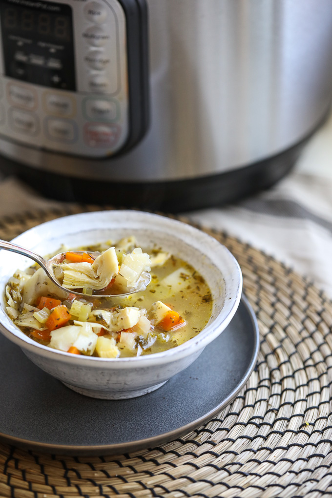 This Instant Pot Artichoke Chicken soup is super easy to make and full of tons of flavor!