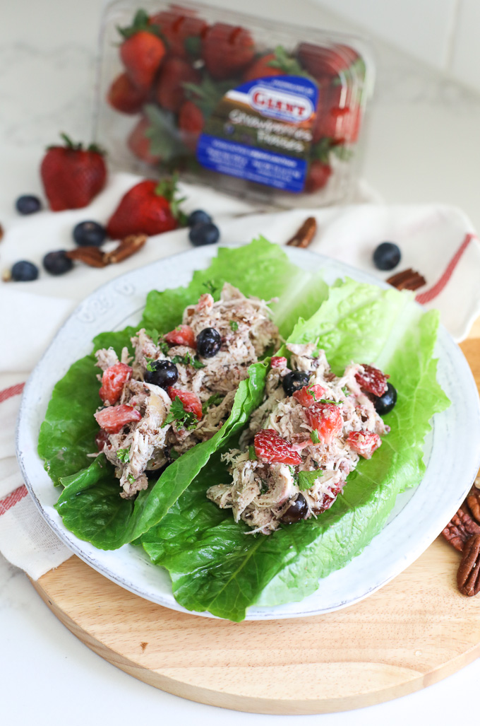 This Mixed Berry Pecan Chicken Salad is a super simple and delicious way to enjoy the benefits of berries with your protein!