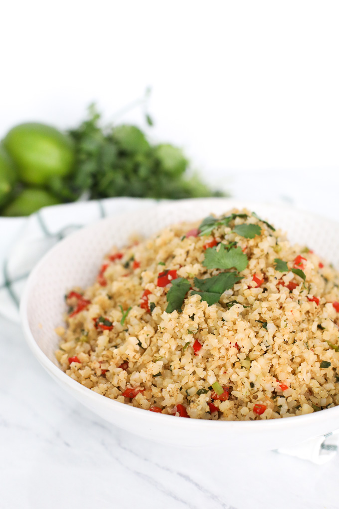 This Spanish Cauliflower Rice is not only easy to make but so healthy and packed with veggies!