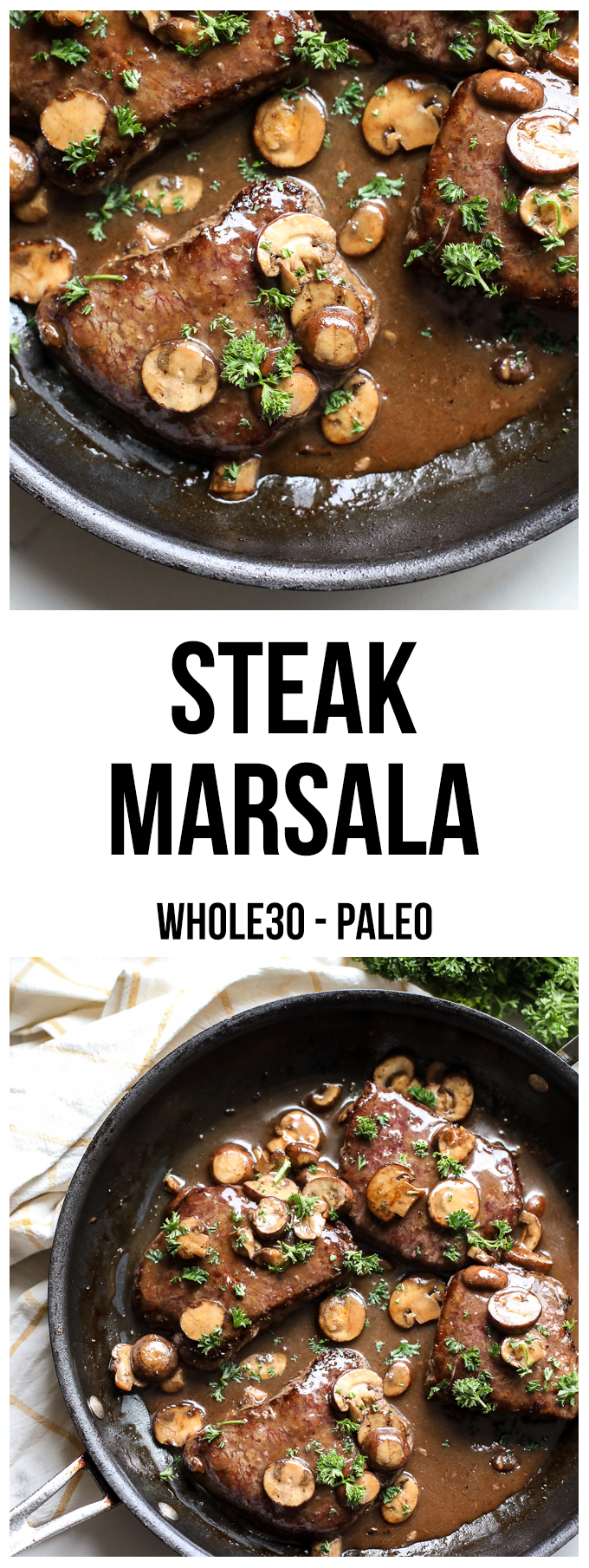 This Steak Marsala is whole30 compliant and a great and easy way to cook steak on a weeknight!