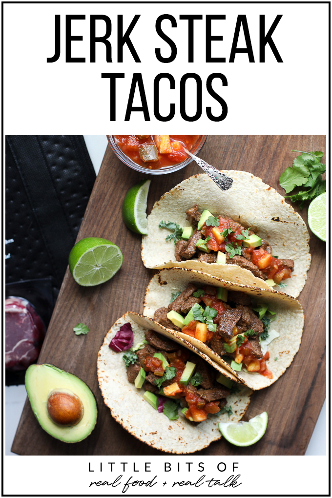 These Jerk Steak Tacos are not only super simple to make but also packed with grass fed steak and tons of flavor!