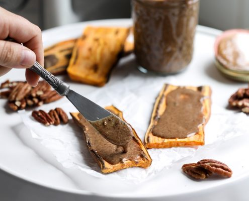 This Pecan Praline Butter is perfect for topping on sweet potato toast or eating by the spoonful!