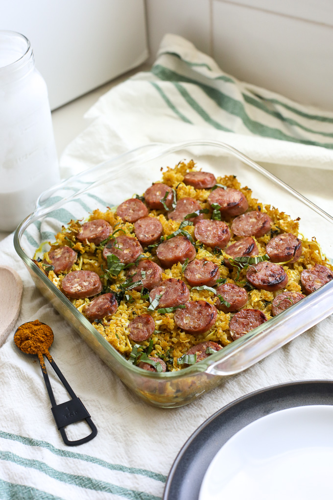 This Thai Curry Cauliflower Rice and Chicken Sausage Bake