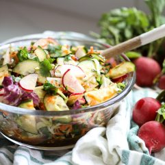 This Fresh Asian Radish Salad is packed with fresh veggies and has an amazing asian dressing that is easy to throw together!