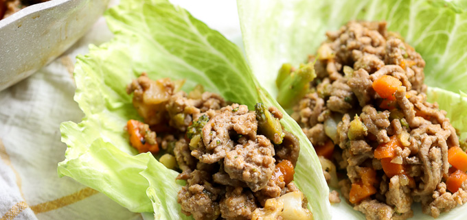 These Turkey and Sweet Potato Asian Lettuce Wraps are a super easy dinner for a weeknight using frozen vegetables for added nutrients! Whole30 and paleo dinner!