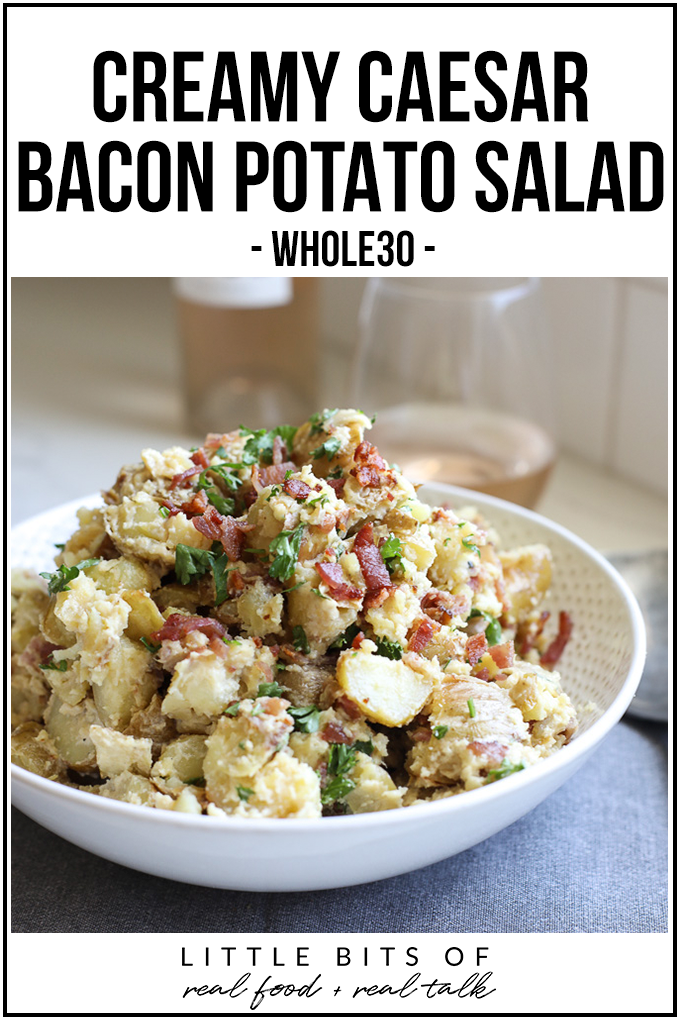 This Creamy Caesar Bacon Potato Salad is the perfect clean and Whole30 side dish recipe for summer! All the best flavors to create a great BBQ staple!