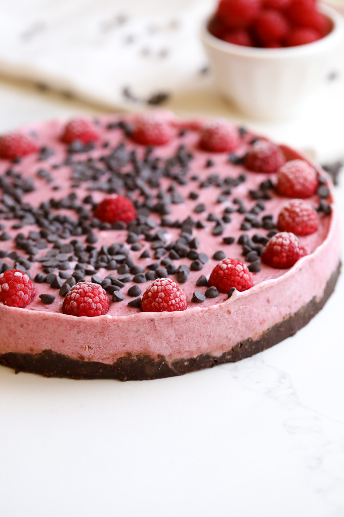 This raspberry chocolate chip nice cream tart is the perfect summer treat that is packed with flavor and made with clean ingredients!