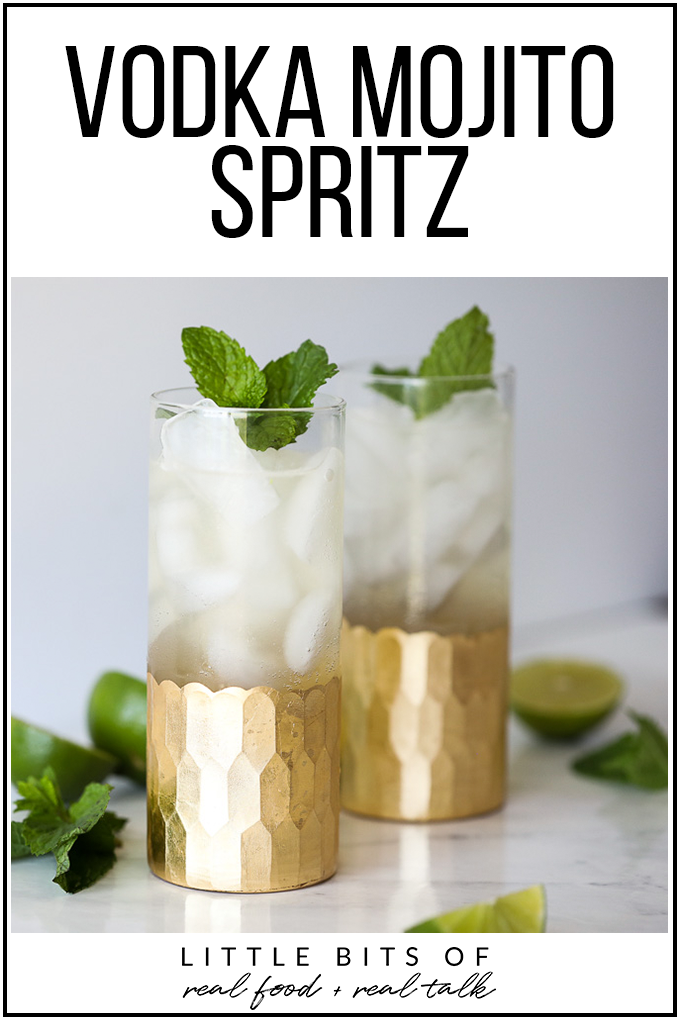 This Vodka Mojito Spritz is a fabulous cocktail that is light, healthy and made with natural sweetener!