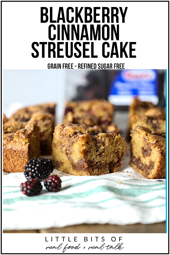 This Blackberry Cinnamon Streusel Cake is grain free, refined sugar free and and great for breakfast or dessert!