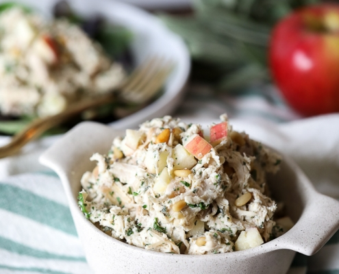 This Harvest Chicken Salad is Whole30, Paleo, and super simple to throw together! Perfect to prep for weekday lunches!