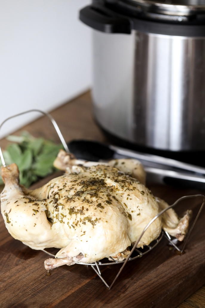 This herb stuffed instant pot whole chicken is perfect to make a bunch of chicken to prep for the week!