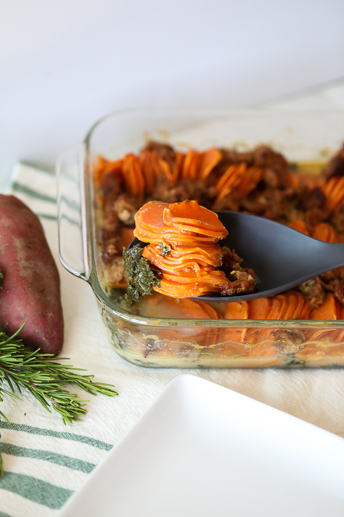 This Sweet Potato and Sausage Casserole is a perfect dish for Thanksgiving, Friendsgiving and and other fall gathering!