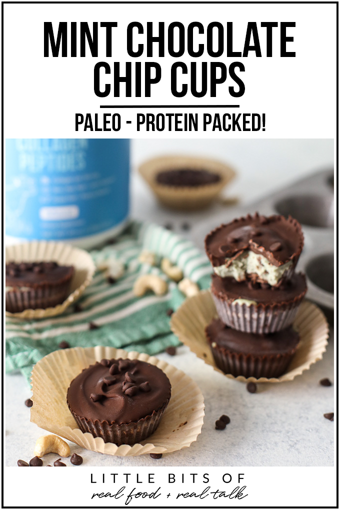 These Mint Chocolate Chip Cups are paleo, creamy, cashew based and packed with collagen protein!