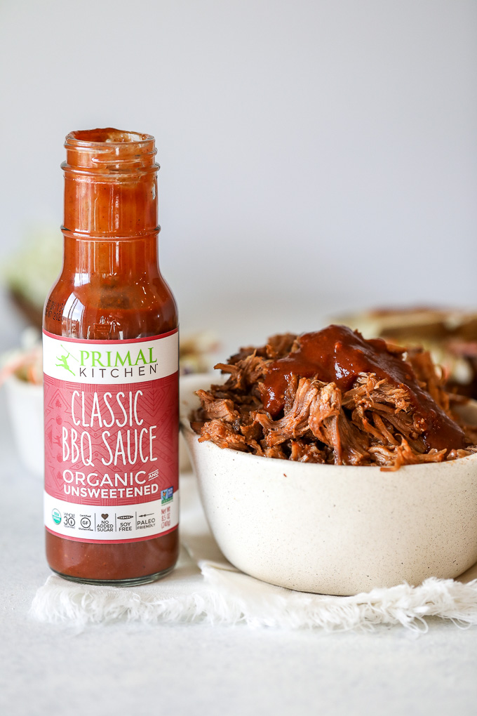 This BBQ Pulled Pork is super easy to make in the instant pot and is also Whole30 compliant thanks to sugar free barbecue sauce!