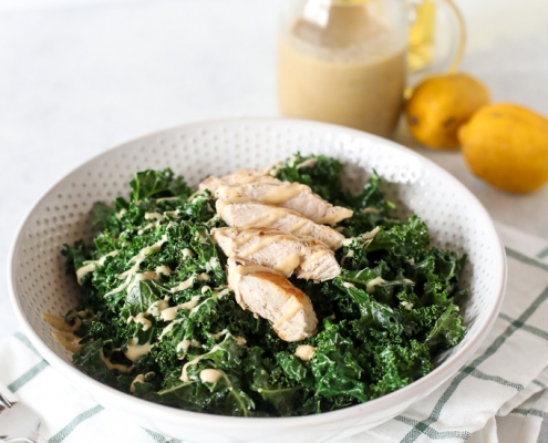 This Warm Kale Chicken Caesar Salad is a great way to enjoy a salad in the colder months! Whole30 compliant and an easy caesar dressing that is dairy free!