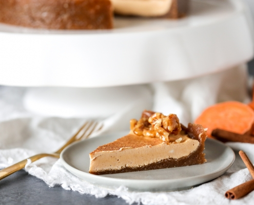 This Sweet Potato Cinnamon Cheesecake is vegan, dairy free, paleo and full of nutrients and flavor!