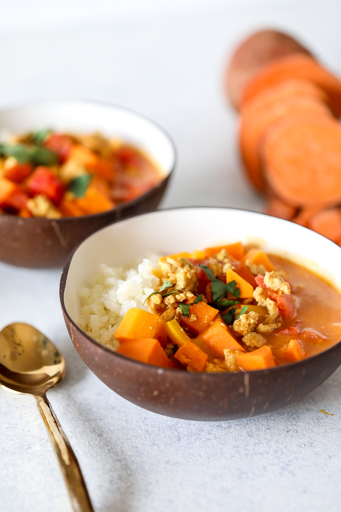 This Coconut Sweet Potato Curry is whole30, paleo and can easily be made vegan!