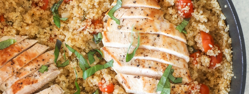 This Tomato Basil Chicken & Quinoa Skillet is healthy, easy to make and a one pot wonder!