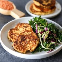 These Sun-dried Tomato Lentil Cakes are easy to throw together, packed with protein, vegetarian and great for babies!