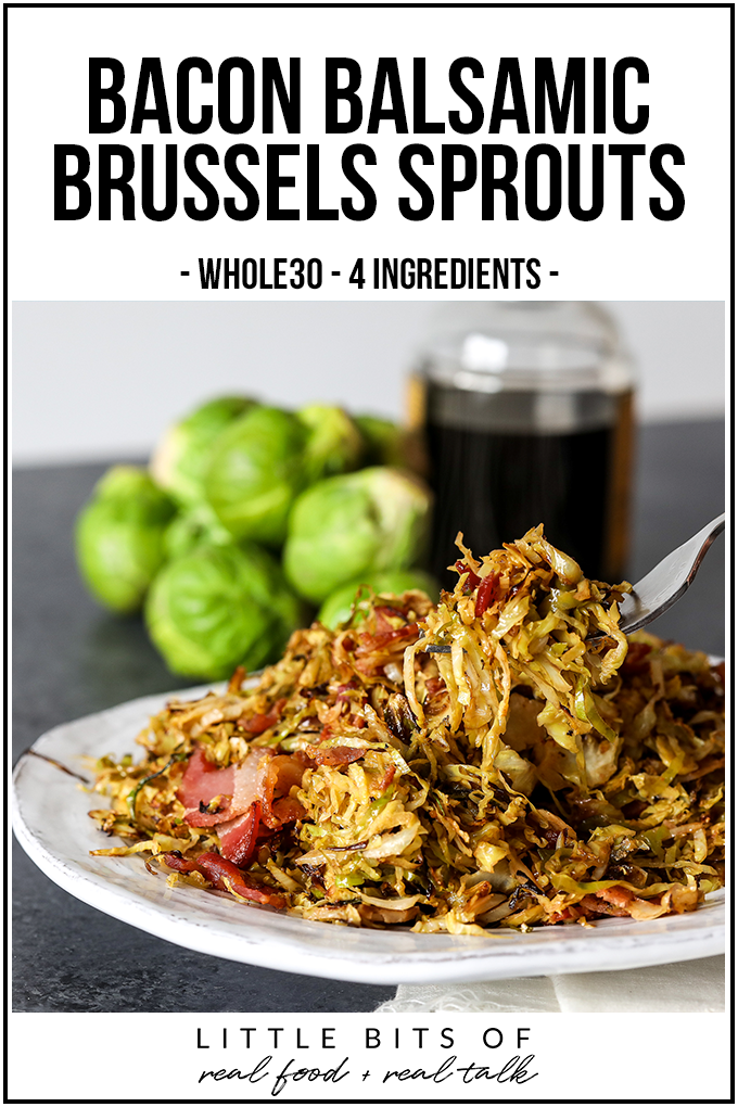 These Bacon Balsamic Brussels Sprouts as only 4 ingredients, whole30 compliant and so simple to make!