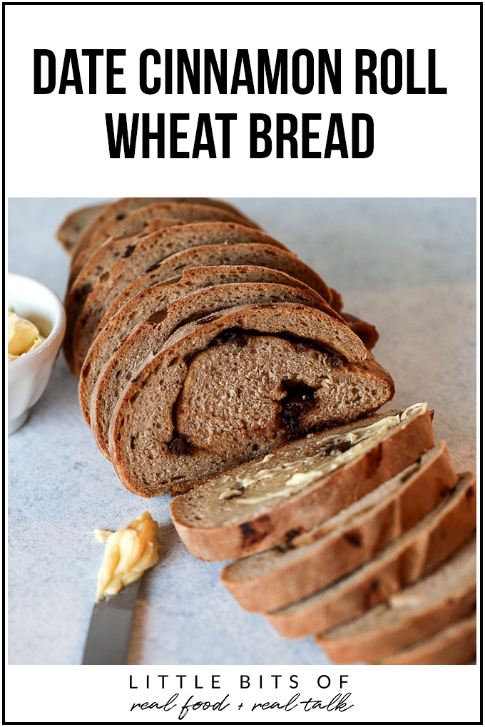 This Date Cinnamon Roll Wheat Bread is so simple to make and so delicious! Whole real ingredients make it great for the whole family!
